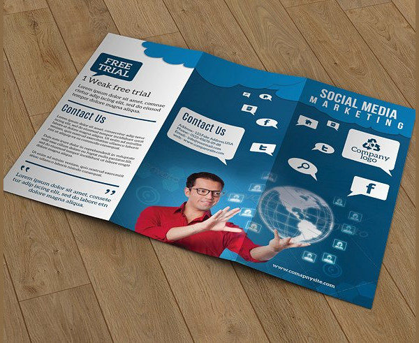 Trifold Brochure Template for Social Media Marketing