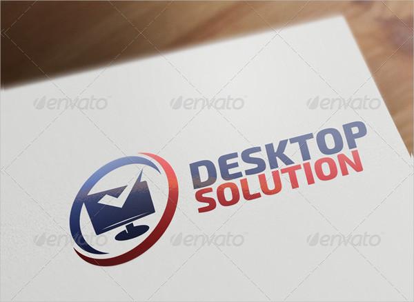 Desktop Solution - Computer & Internet Logo