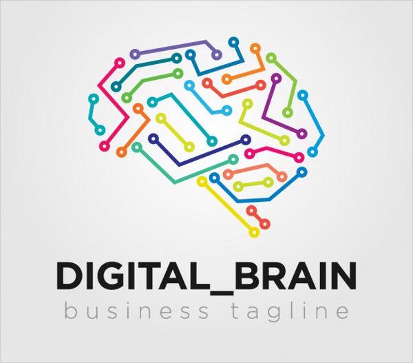 Digital Brain Logo Free Vector