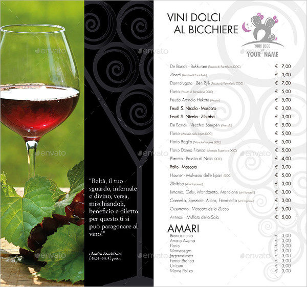 Elagant Wine List Brochure