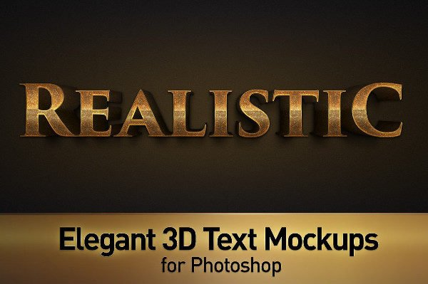 Elegant 3D Text Photoshop Mockup