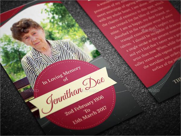 Elegant Funeral Prayer Card Template