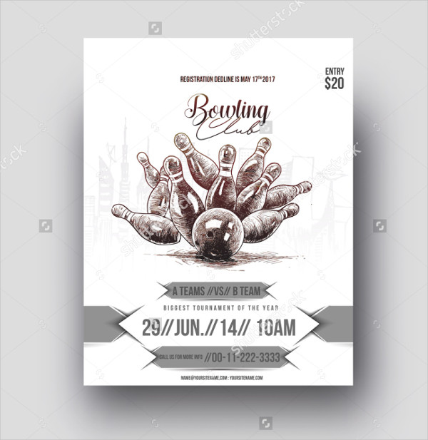 Bowling Club Flyer Vector Template
