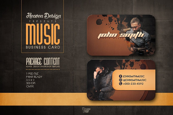 Heaven Design Musician Business Card Template