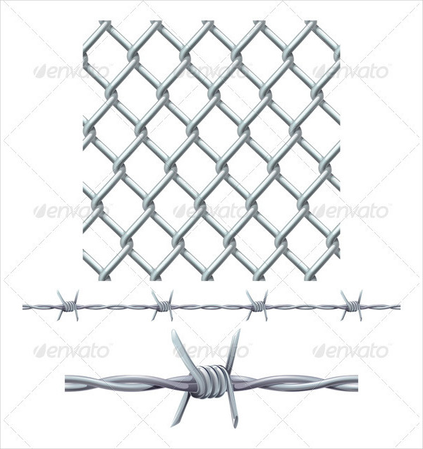 Seamless Tiling Fence & Barbed Wire Pattern
