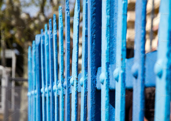 Fence Blue Metal Pattern
