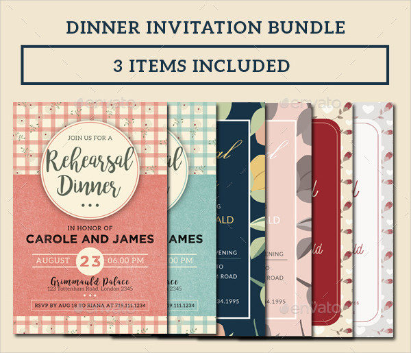 Floral Dinner Invitations Bundle