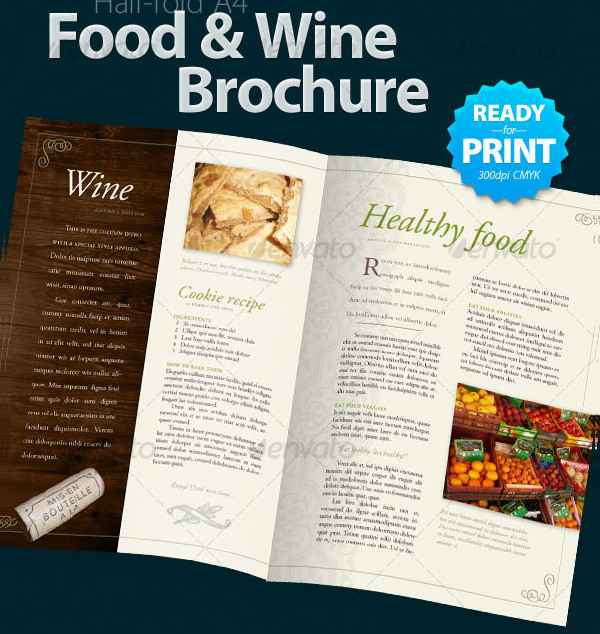 Ready to Print Food & Wine Brochures