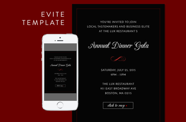 Formal Dinner Evite PSD Template