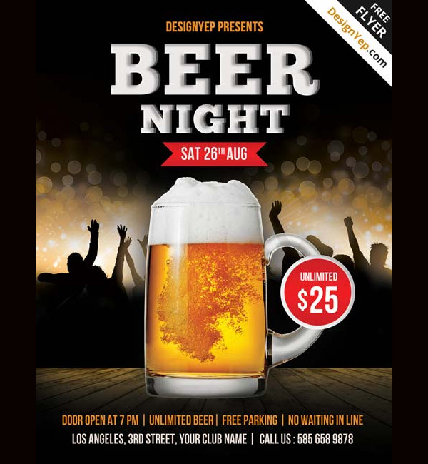 Free Beer Night PSD Party Flyer Template