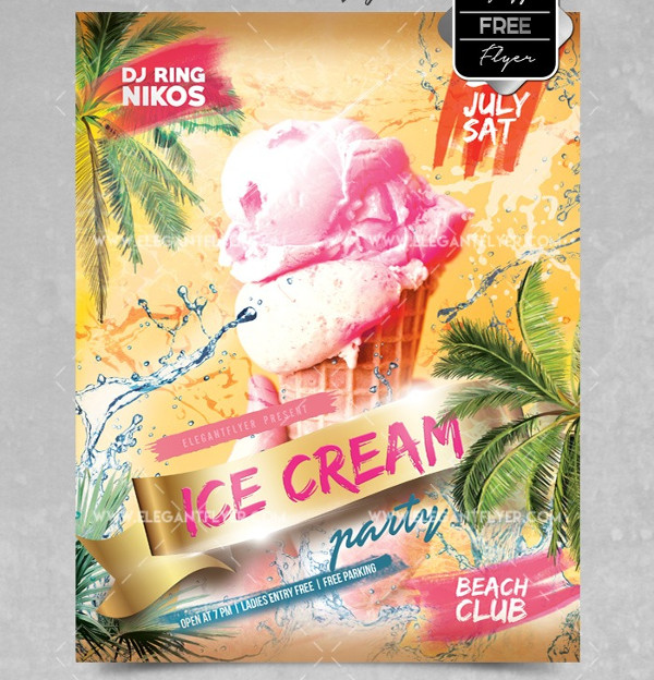 Free PSD Ice Cream Party Flyer Template