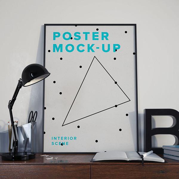 Free Poster Interior PSD Mockup