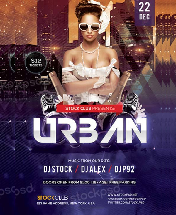 Free Urban Party PSD Flyer