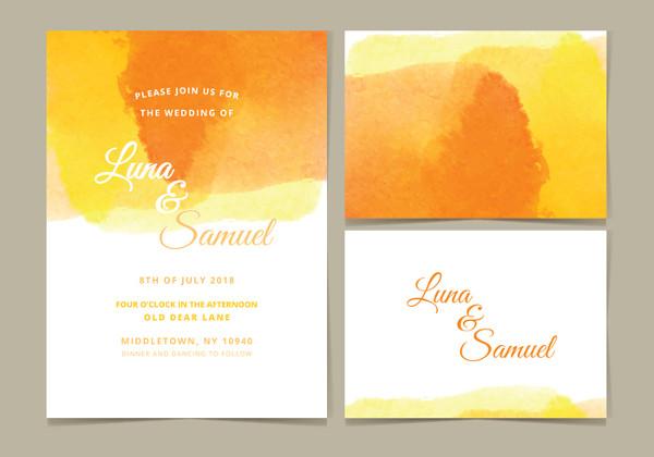 Free Watercolor Wedding Invite