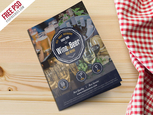 Free Wine & Beer Menu Brochure Template