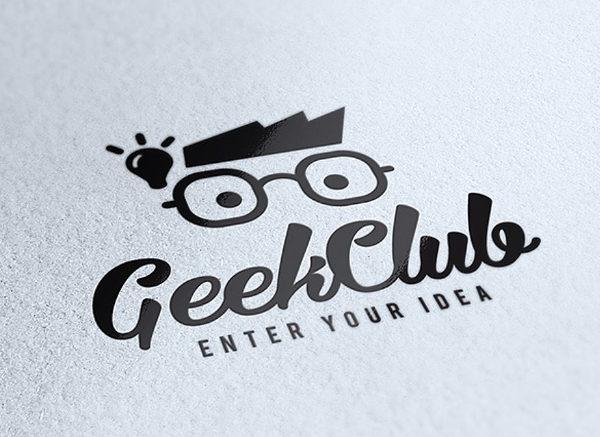 Geek Club Logo Design Vector