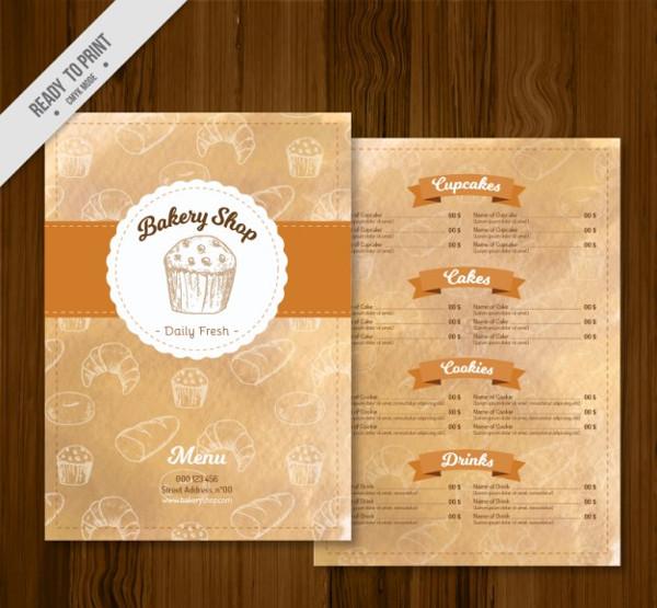 Free Bakery Shop Menu Template