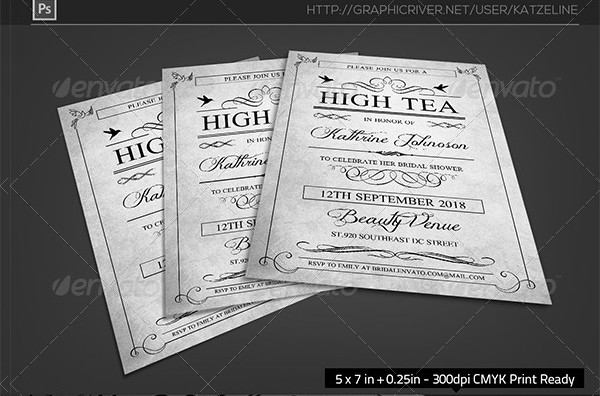 High Tea Bridal Shower Party Invitation Template