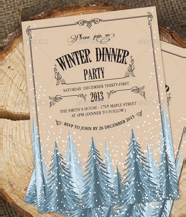 Winter Holiday Dinner Invitation Template