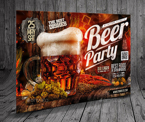Beer Party Horizontal Flyer Template