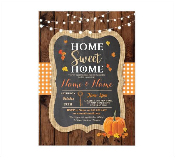 Fall Chalk Pumpkin Housewarming Invitation Template