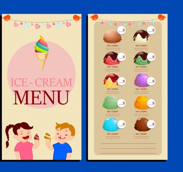 Ice Cream Menu Template with Cute Childrens