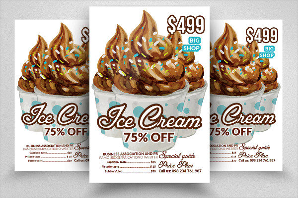 Ice Cream Discount PSD Flyer Template