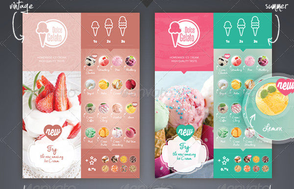 Ice Cream Flavor Menu Template