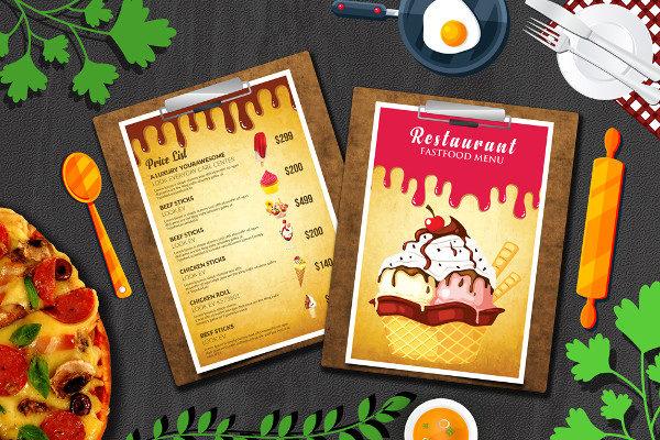 Ice Cream Restaurant Menu Flyer