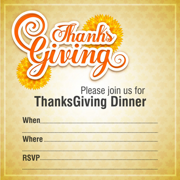 Invitation Design for Thanksgiving Dinner Free