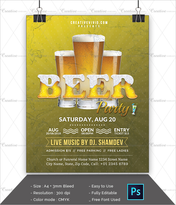 Latest Design Beer Party Flyer Template