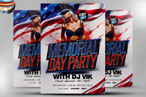 Memorial Day Weekend Party Flyer Template