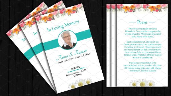 Memorial Funeral Prayer Card