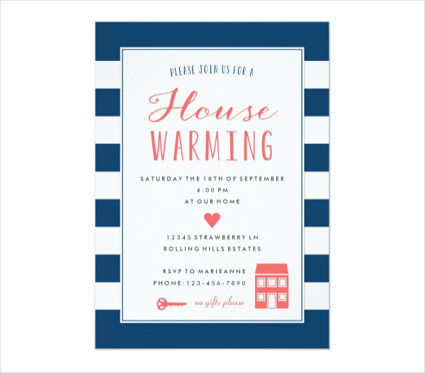 Navy Stripes Coral Housewarming Party Invitation