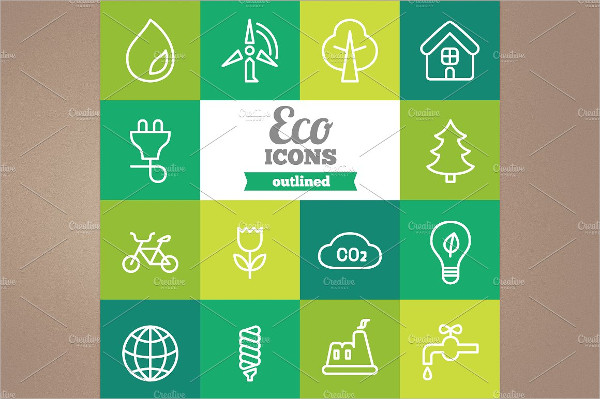 Eco Outlined Icons Pack