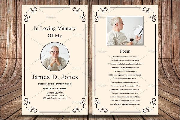 Unique Funeral Prayer Card Template