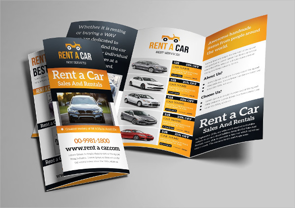 Professional Rent a Car Tri-Fold Brochure