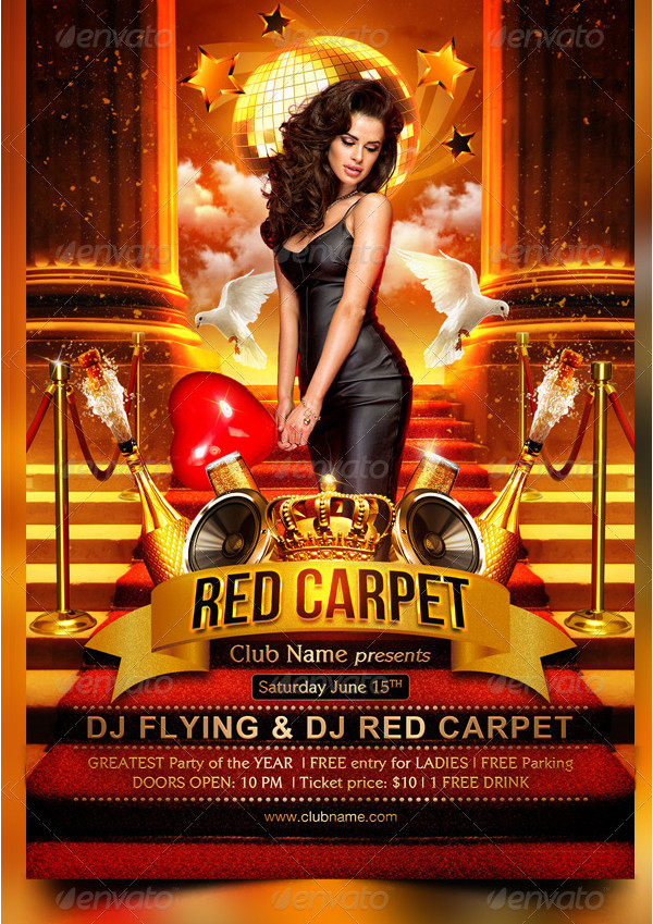 Red Carpet Party Celebrations Flyer