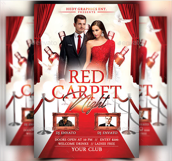 Red Carpet Night Party Flyer Template