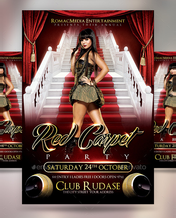 Red Carpet VIP Party Flyer Template