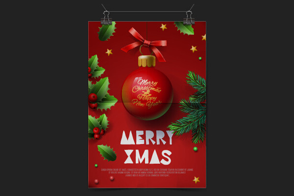 Red Christmas Flyer Free Vector