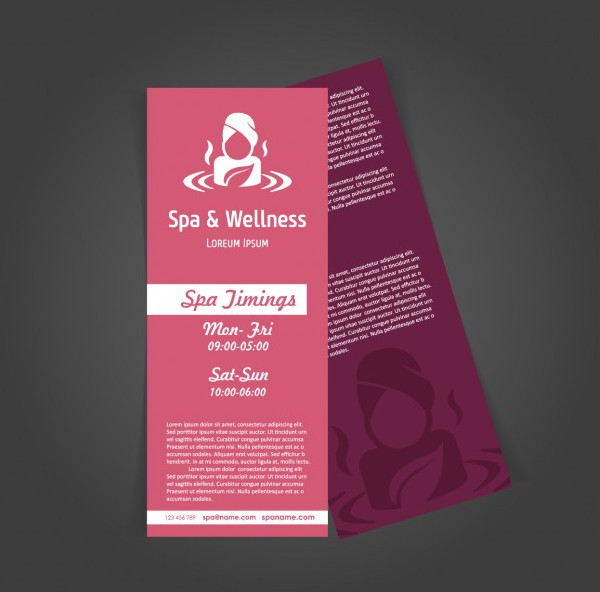 Red Spa & Wellness Brochure Template Free Vector