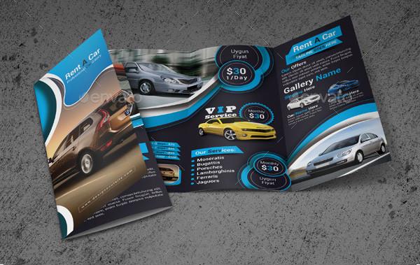 Unique Rent A Car Trifold Brochure Template