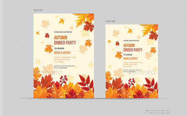Retro Autumn Dinner Party Invitations