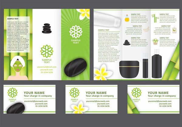 Salon Tri Fold Brochure Vector Template