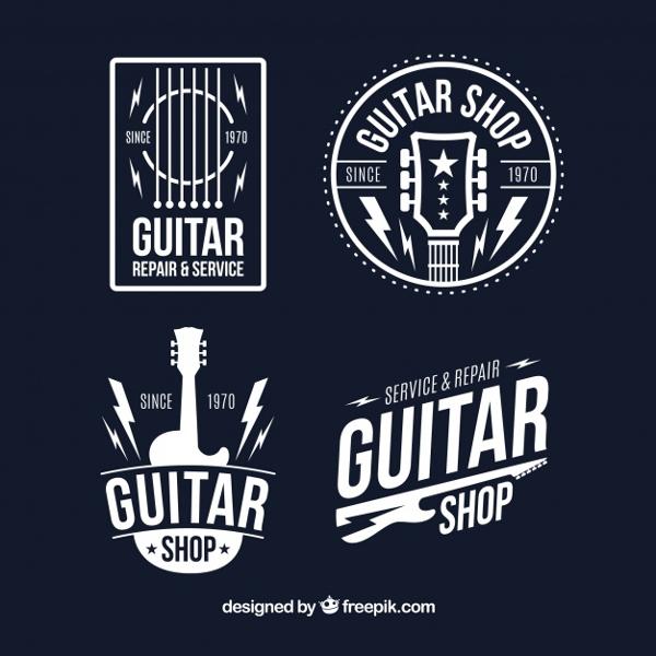 Free Set of Four Guitar Logos in Flat Design