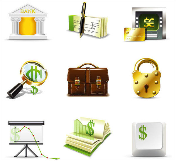 Shiny Business with Finance Icons Free Vector