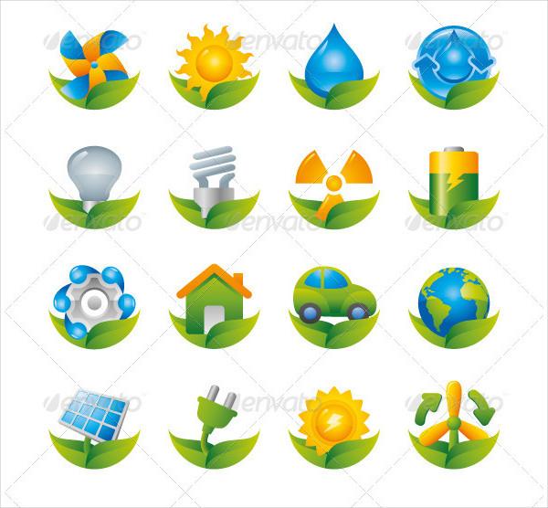 Shiny Green Energy Eco Icon Set