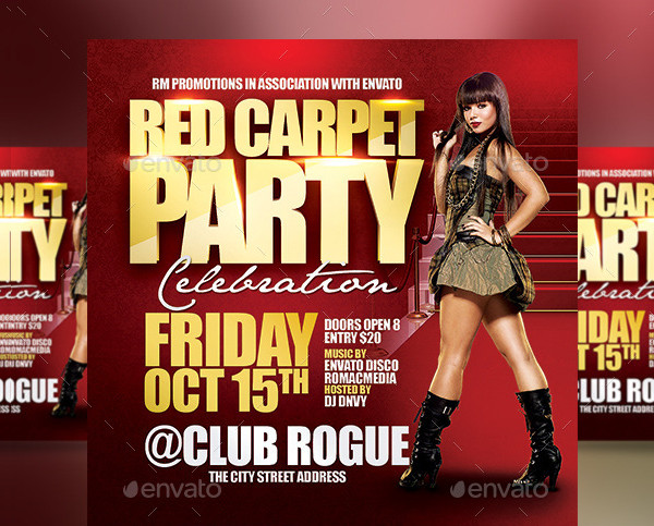 Red Carpet Birthday Party Flyer Template