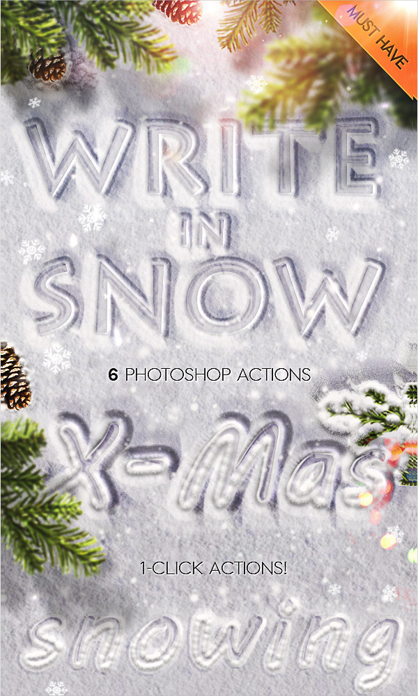 Snow Writing Photoshop Actions